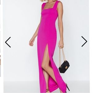 Hot Pink Square Neck Maxi Dress